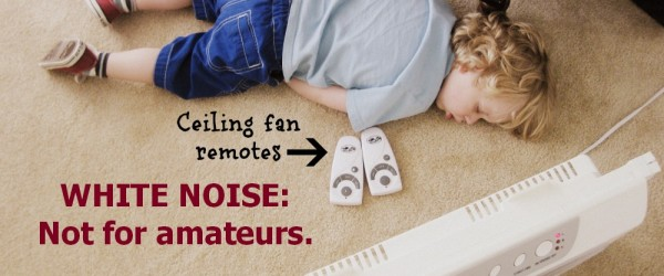 child asleep with fans
