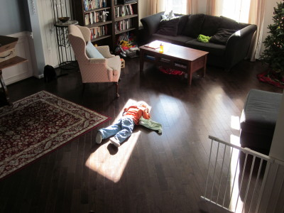 Sunbeam nappers are thankful for Swiffered floors.