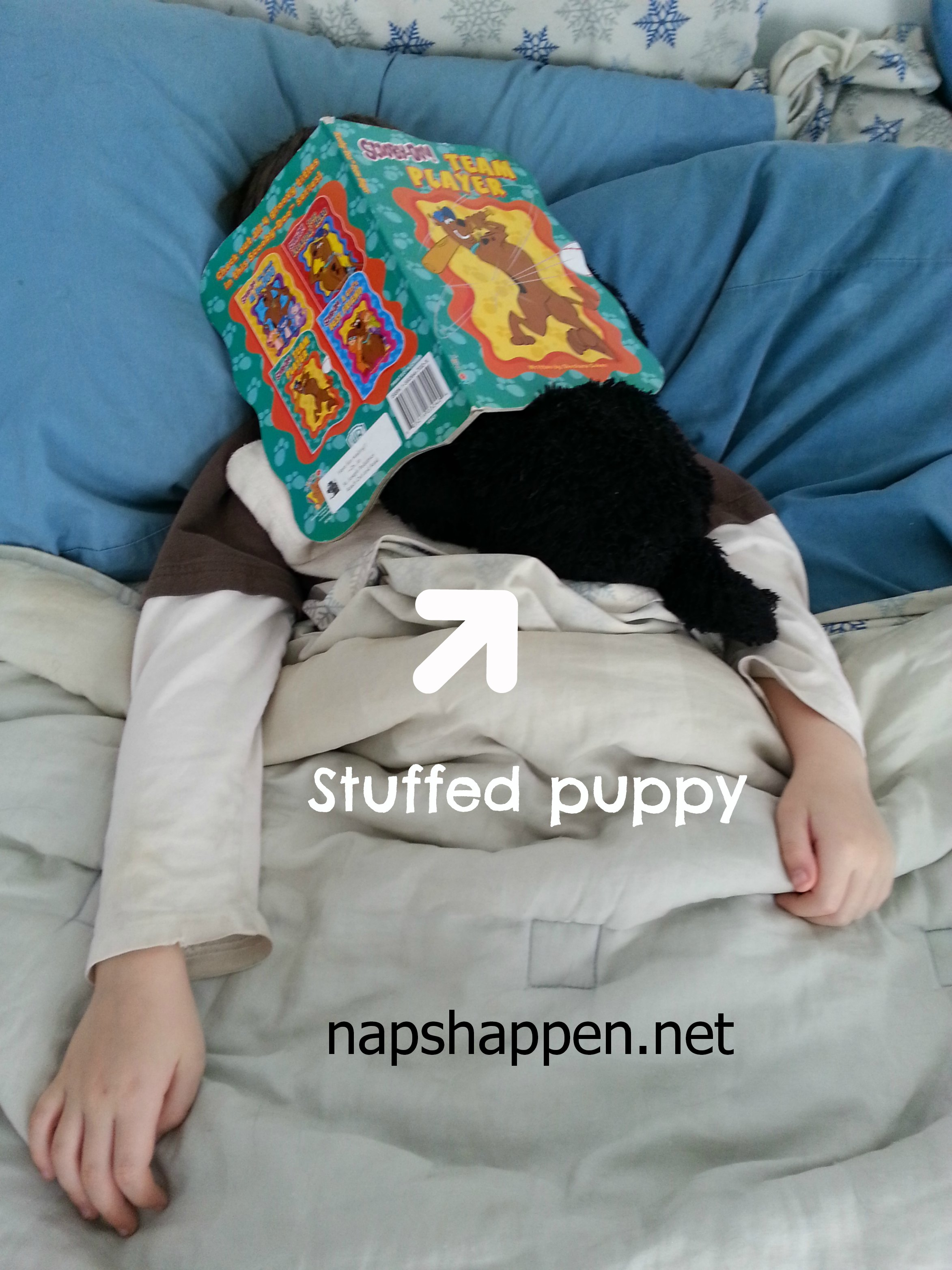 boy sleeping with book on face