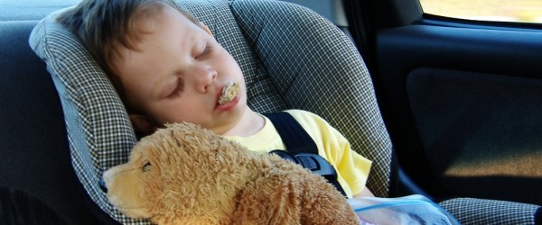 child napping in car